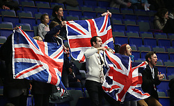 © Licensed to London News Pictures. 27/01/2017. Ostrava, CZ. British fans cheer Scottish figure skater Natasha MCKAY during her performance at the Ladies Free Skating during the ISU European Figure Skating Championships in the Ostrava Arena in Ostrava, Czech Republic, on Friday January 27, 2017. Photo credit: Isabel Infantes/LNP