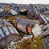 Barrels litter an abandoned gulag mine in extreme northern Russia.