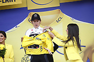 Podium, Hottess, Miss, Geraint Thomas (GBR - Team Sky) Yellow Jersey during the 105th Tour de France 2018, Stage 17, Bagneres de Luchon - Col du Portet (65 km) on July 25th, 2018 - Photo Luca Bettini / BettiniPhoto / ProSportsImages / DPPI