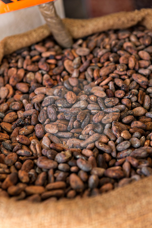 Roasted cocoa beans used in chocolate and the Mexican sauce mole at a shop in Oaxaca, Mexico.