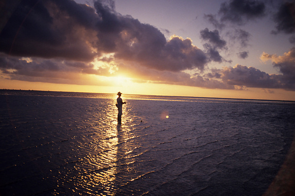 Stock photo of the silhouette of a man fishing in Galveston Bay at sunset