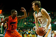 WACO, TX - JANUARY 3: Brady Heslip #5 of the Baylor Bears brings the ball up court against the Savannah State Tigers on January 3, 2014 at the Ferrell Center in Waco, Texas.  (Photo by Cooper Neill) *** Local Caption *** Brady Heslip