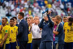 July 7, 2018 - Samara, RUSSIA - 180707 head coach Janne Andersson recognizes the fans of Sweden after loosing the FIFA World Cup quarter final match between Sweden and England on July 7, 2018 in Samara..Photo: Joel Marklund / BILDBYRÃ…N / kod JM / 87755 (Credit Image: © Joel Marklund/Bildbyran via ZUMA Press)