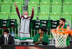 Franci Mirnik reacts during basketball match between KK Cedevita Olimpija (SLO) and Buducnost Voli (MNE) in Top 16 Round 2 of 7DAYS Eurocup 2020/21, on January 19, 2021 in Arena Stozice, Ljubljana, Slovenia.  Photo by Vid Ponikvar / Sportida
