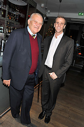 Left to right, DAVID WYNNE-MORGAN and his son HARRY WYNNE-MORGAN at a dinner to celebrate the opening of the Serpentine's Gallery new exhibition of work by Jonas Mekas held at Cassis, 232-236 Brompton Road, London SW3, London on 3rd December 2012.