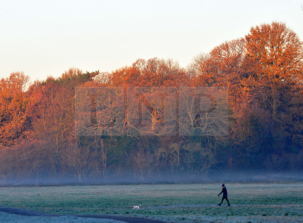 © Licensed to London News Pictures. 04/12/2016<br /> A Freezing and icy cold morning at Footscray Meadows in Sidcup,Kent.<br /> Photo credit :Grant Falvey/LNP