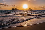 Sunrise at Lanikai Beach, Mokulua Islands offshore, Kailua Bay, Oahu, Hawaii