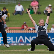 Kate Pulford of New Zealand celebrates the wicket of Shelley Nitschke trapped LBW during the Australia V New Zealand group A match at North Sydney Oval in the ICC Women's World Cup Cricket Tournament, in Sydney, Australia on March 8, 2009. New Zealand beat Australia by 13 runs in the (D/L method)  rain affected match. Photo Tim Clayton