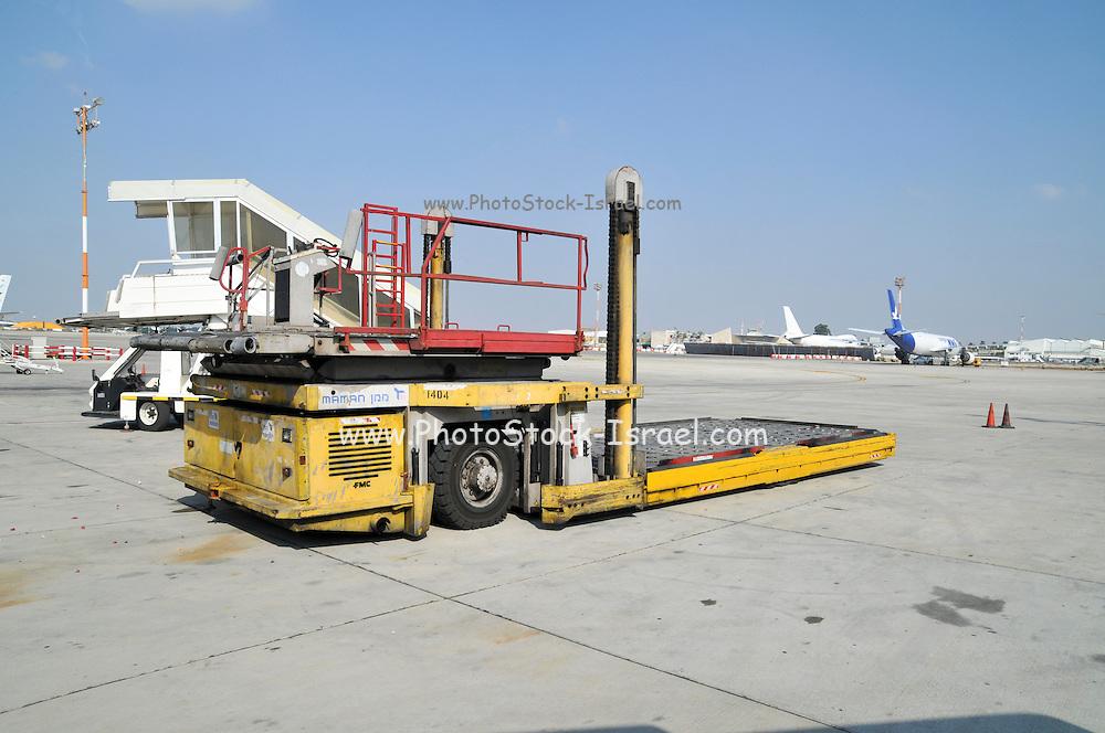Israel, Ben-Gurion international Airport maintenance vehicle on the Tarmac