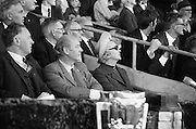 06/09/1970<br /> 09/06/1970<br /> 6 September 1970<br /> All-Ireland Senior Hurling Final: Cork v Wexford at Croke Park, Dublin. <br /> <br /> An Taoiseach, Mr. Jack Lynch (middle), watches his home county chalking up the score with Mrs. Lynch (right) and Padraig O'Fainin (left), President of the G.A.A.