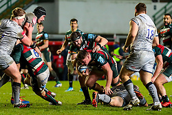 Jasper Wiese of Leicester Tigers barrels his way towards the try line - Mandatory by-line: Nick Browning/JMP - 29/01/2021 - RUGBY - Mattioli Woods Welford Road - Leicester, England - Leicester Tigers v Sale Sharks - Gallagher Premiership Rugby