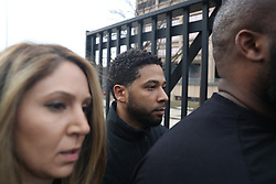 """After bonding out, """"Empire"""" actor Jussie Smollett leaves the Cook County Jail in Chicago, IL, USA, February 21, 2019. A Chicago judge has said charges that US actor Jussie Smollett staged a hoax hate crime against himself are """"utterly outrageous"""" and """"despicable"""" if true. The 36-year-old African-American actor is accused of filing a fake police report claiming he was the victim of a homophobic and racist assault. Photo by Chris Sweda/Chicago Tribune/TNS/ABACAPRESS.COM"""