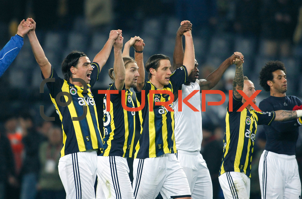 Fenerbahce's players celebrate victory during their Turkish superleague soccer match Fenerbahce between Gaziantepspor at the Sukru Saracaoglu stadium in Istanbul Turkey on Monday09 January 2011. Photo by TURKPIX