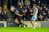 Darcy Graham (#14) of Edinburgh Rugby spikes the ball after scoring the final try during the 1872 Cup second leg Guinness Pro14 2019_20 match between Edinburgh Rugby and Glasgow Warriors at BT Murrayfield Stadium, Edinburgh, Scotland on 28 December 2019.