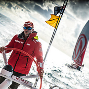 Leg 6 to Auckland, day 21 on board MAPFRE, Rob Greenhalgh stearing after overtake Dongfeng. 27 February, 2018.