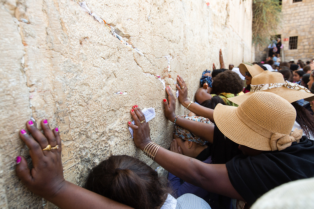 Women are seen as they pray at the Western Wall, Judaism's holiest prayer site, in the Old City of Jerusalem, Israel, on September 17, 2017.