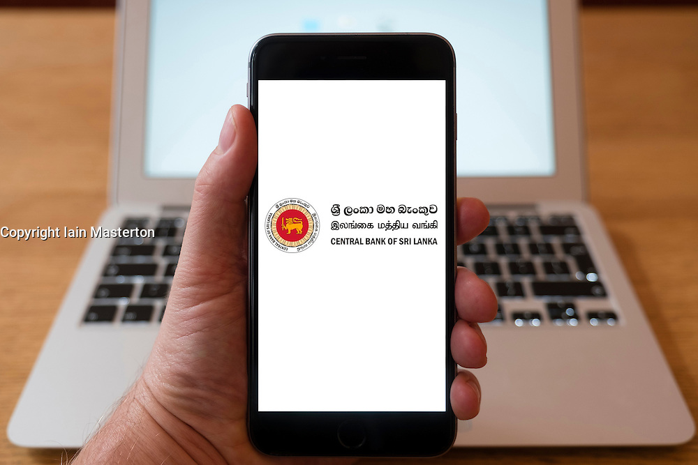 Using iPhone smart phone to display website logo of Central Bank of Sri Lanka