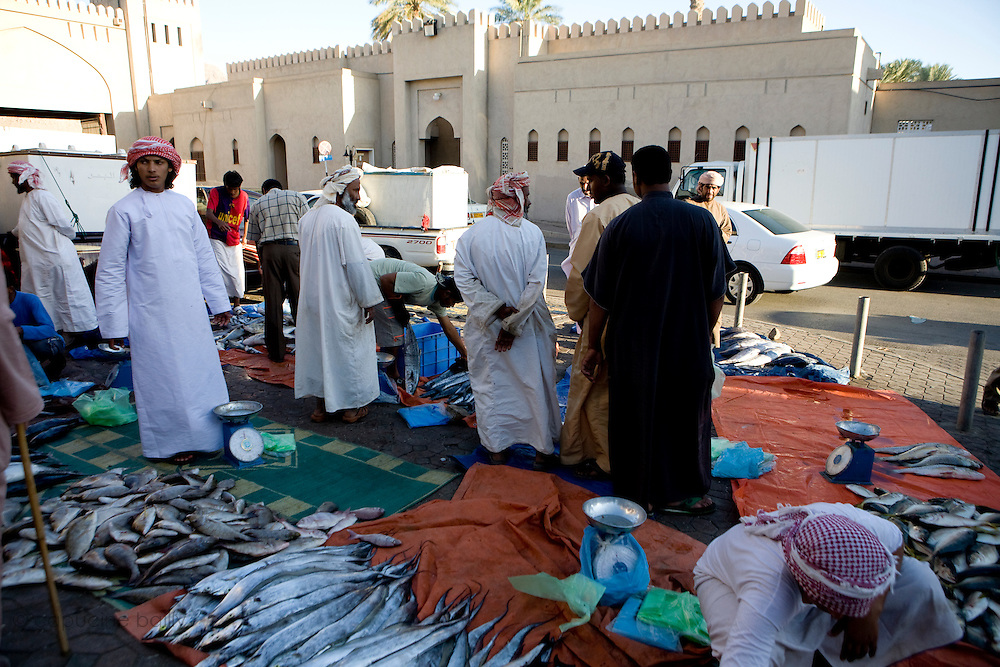 Nizwa, Sultanate of Oman. .February 1st 2009..The fish market of Nizwa