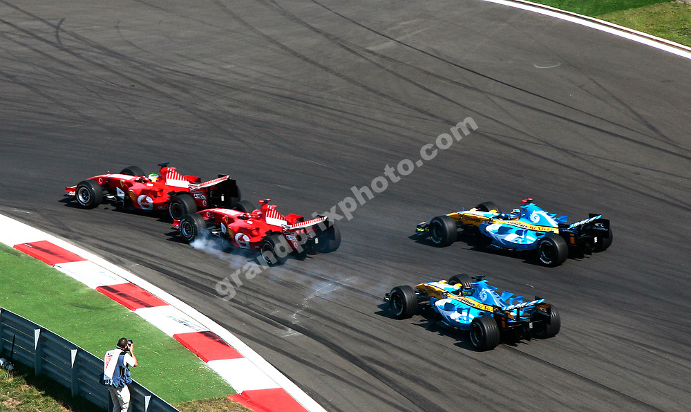 The start of the 2006 Turkish Grand Prix in Istanbul Park with Ferrari drivers Felipe Massa and Michael Schumacher leading Renault drivers Fernando Alonso and Giancarlo Fisichella into the first corner. Photo: Grand Prix Photo