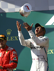 July 29, 2018 - Budapest, Hungary - British driver LEWIS HAMILTON (Mercedes AMG Petronas Motorsport) celebrates on the podium after winning the FIA Formula One Grand Prix of Hungary. (Credit Image: © Hoch Zwei via ZUMA Wire)