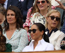 July 13, 2019 - London, England - LONDON, ENGLAND - JULY 13:  Catherine, Duchess of Cambridge and Meghan, Duchess of Sussex  attend the Women's Singles Final of the Wimbledon Tennis Championships at All England Lawn Tennis and Croquet Club on July 13, 2019 in London, England...People:  Catherine, Duchess of Cambridge and Meghan, Duchess of Sussex. (Credit Image: © SMG via ZUMA Wire)