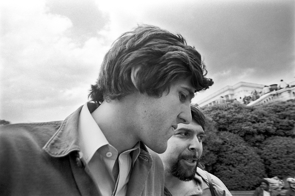 On April 22, 1971, Vietnam veteran Lt. John Kerry became the first Vietnam veteran to testify before Congress about the war, when he appeared before a Senate committee hearing on proposals relating to ending the war.<br /> Kerry , the following day -April 23, 1971 -  participated in a demonstration with thousands of other veterans in which he and other veterans threw their medals and ribbons over a fence erected at the front steps of the United States Capitol building to dramatize their opposition to the war.<br /> Here, Kerry is shown just after delivering an antiwar speech to the thousands of gathered protestors. - To license this image, click on the shopping cart below -