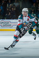 KELOWNA, CANADA - JANUARY 22: Myles Bell #29 of the Kelowna Rockets skates with the puck against the Everett Silvertips on January 22, 2014 at Prospera Place in Kelowna, British Columbia, Canada.   (Photo by Marissa Baecker/Getty Images)  *** Local Caption *** Myles Bell;