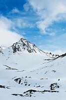 Winter mountain peak, Sierra Nevada mountains, California, USA