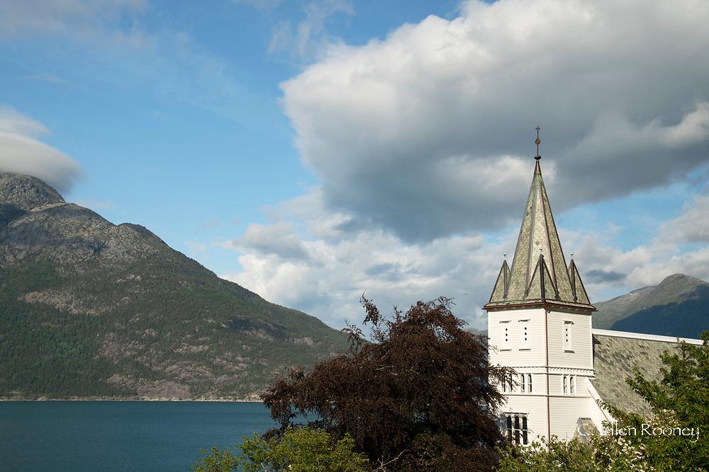 The church steeple in the village of Utne, Hardanger Fjord, Norway, Scandanavia Europe