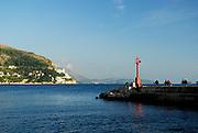 The Porporela (breakwater) at sundown, Dubrovnik old town, Croatia