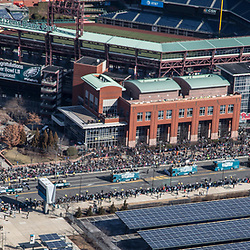 Aerial view of the start of Philadelphia Eagles Super Bowl Victory Parade above the Sports Complex in South Philly on February 8, 2018 .