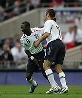 Photo: Lee Earle.<br /> England v Israel. UEFA European Championships Qualifying. 08/09/2007.England's Joe Cole (R) celebrates with Shaun Wright-Phillips after he scored their opening goal.
