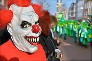 Nederland, Nijmegen, 15-2-2015 Carnavalsoptocht door Knotsenburg. Masker, mombakkes, van een eng figuur. FOTO: FLIP FRANSSEN/ HOLLANDSE HOOGTE