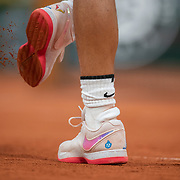 PARIS, FRANCE September 28. Rafael Nadal of Spain knocks the clay off his shoes during his match against Egor Gerasimov of Belarus in the first round of the singles on Court Philippe-Chatrier competition during the  French Open Tennis Tournament at Roland Garros on September 28th 2020 in Paris, France. (Photo by Tim Clayton/Corbis via Getty Images)
