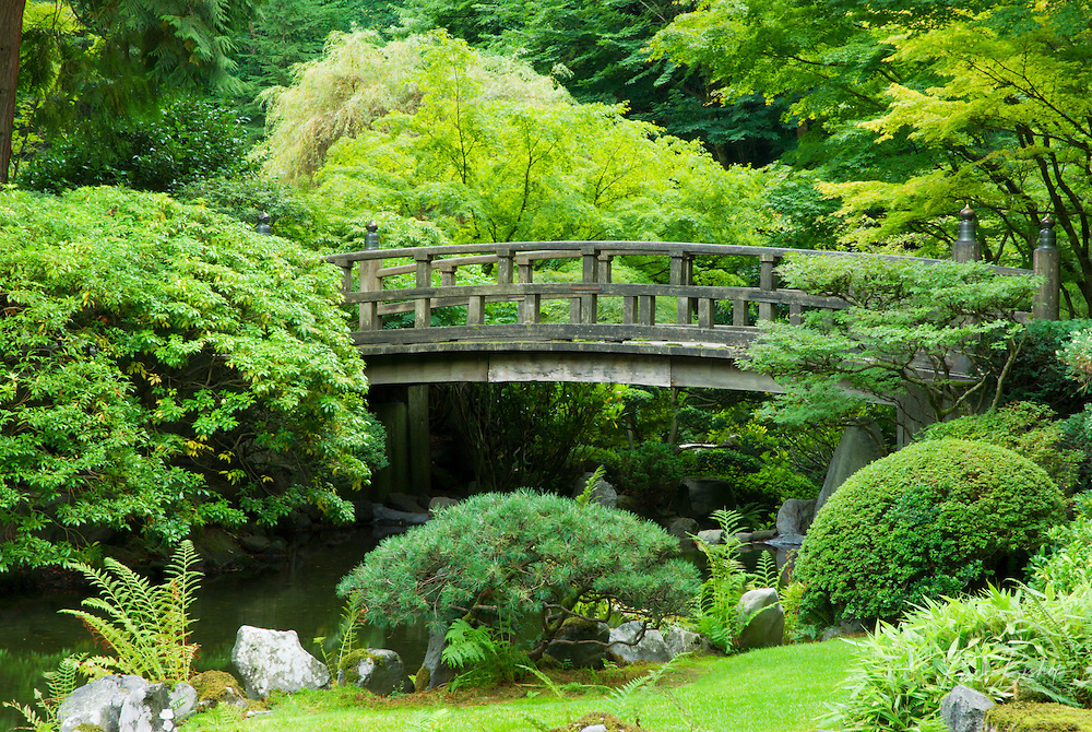 Bridge and pond at the Japanese Garden, Portland, Oregon