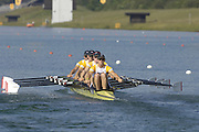 2005 FISA Rowing World Cup Munich,GERMANY. 18.06.2005;.GBR W4X GB Women's Quad moves away from the start, in their Sat. final at the FISA World Cup Regatta in Munich. Bow Rebecca Romero, Sarah Winckless, and Katherine Grainger..Photo  Peter Spurrier. .email images@intersport-images[Mandatory Credit Peter Spurrier/ Intersport Images] Rowing Course, Olympic Regatta Rowing Course, Munich, GERMANY