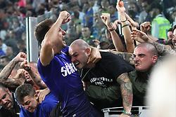 October 14, 2017 - Turin, Italy - Lazio defender Stefan Radu (26) celebrates victory with Lazio supporters after the Serie A football match n.8 JUVENTUS - LAZIO on 14/10/2017 at the Allianz Stadium in Turin, Italy. (Credit Image: © Matteo Bottanelli/NurPhoto via ZUMA Press)