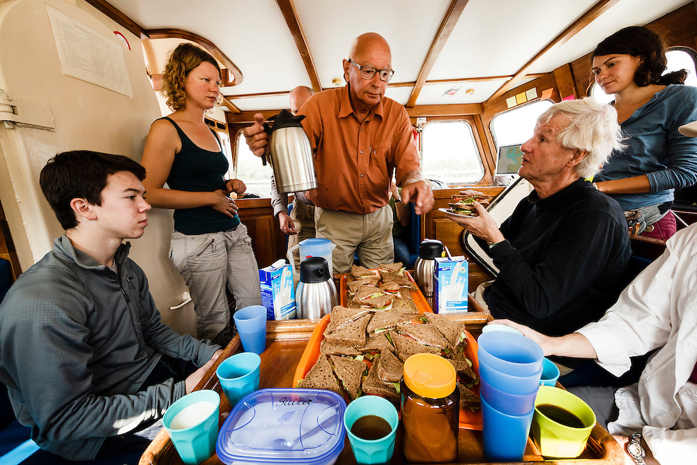 Lunch and safety meeting on the Anne-Margareta.