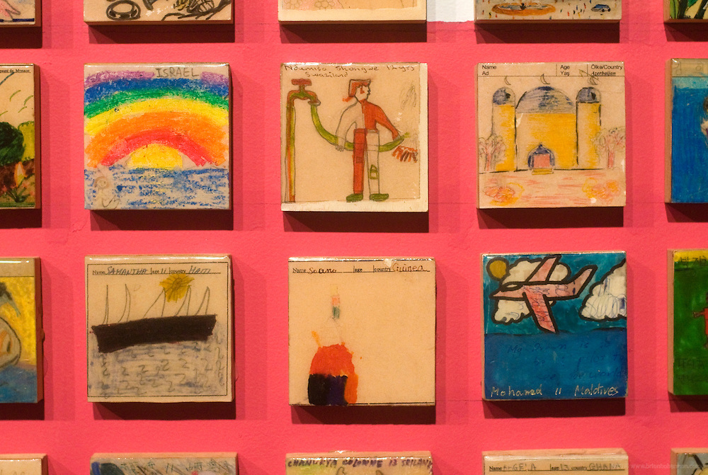 A detail of the tiles making up a global collection of children's artwork inspired by Ali displayed on a 55-foot-long Hope and Dream wall, Thursday, Jan. 11, 2012 at the Muhammad Ali Center in Louisville, Ky. (AP Photo/Brian Bohannon)