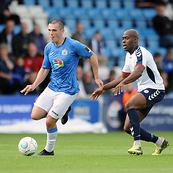 TELFORD COPYRIGHT MIKE SHERIDAN 15/9/2018 - Frank Mulhearn of Stockport battles for the ball with Theo Streete of AFC Telford during the Vanarama Conference North fixture between AFC Telford United and Stockport County.