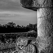 Chichen Itza # 3 Detail of column with snake head at ball game stadium. Mayan Ruins in Chichen Itza, Yucatan.