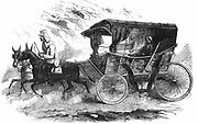 Florence Nightingale (1820 -1910) English nurse, in her carriage in the Crimea. 'It is a homely vehicle corresponding to the womanly simplicity of her whom it was employed to convey'. From 'The Illustrated London News, 30 August 1856. Wood engraving.