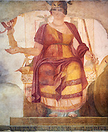 """Fresco of Venus sitting restored as Roma  known as the """"Dea Barberini"""" (""""Barberini goddess""""), dating from the first quarter of the fourth century. A.D, excavated near to Baptistery of St. John Lateran , Rome Museo Nazionale Romano ( National Roman Museum), Rome, Italy. .<br /> <br /> If you prefer to buy from our ALAMY PHOTO LIBRARY  Collection visit : https://www.alamy.com/portfolio/paul-williams-funkystock/national-roman-museum-rome-fresco.html<br /> <br /> Visit our ROMAN ART & HISTORIC SITES PHOTO COLLECTIONS for more photos to download or buy as wall art prints https://funkystock.photoshelter.com/gallery-collection/The-Romans-Art-Artefacts-Antiquities-Historic-Sites-Pictures-Images/C0000r2uLJJo9_s0"""