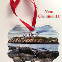Nubble Lighthouse Ornament<br /> Double Sided - Two Photographs Printed on Metal (Back Side is similar image with waves splashing)<br /> Proudly Made in USA<br /> Approx 3x3