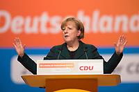 09 DEC 2014, KOELN/GERMANY:<br /> Angela Merkel, CDU, Bundeskanzlerin, haelt ihre Rede als Parteivorsitzende der CDU, CDU Bundesparteitag, Messe Koeln<br /> IMAGE: 20141209-01-026<br /> KEYWORDS: Party Congress