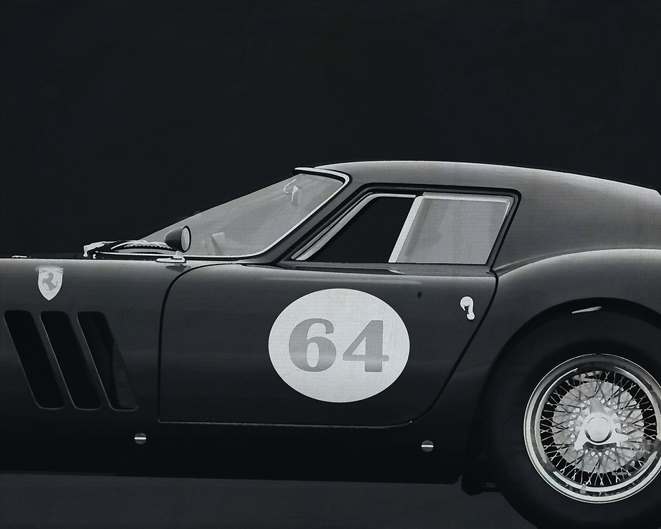 """The Ferrari 250 GTO is a GT car produced by Ferrari from 1962 to 1964 for homologation into the FIA's Group 3 Grand Touring Car category. It was powered by Ferrari's Tipo 168/62 Colombo V12 engine.<br /> <br /> The """"250"""" in its name denotes the displacement in cubic centimeters of each of its cylinders; """"GTO"""" stands for Gran Turismo Omologata,[4][5] Italian for """"Grand Touring Homologated.""""<br /> <br /> Just 36 of the 250 GTOs were manufactured between 1962 and 1964. This includes 33 cars with 1962-63 bodywork (Series I) and three with 1964 (Series II) bodywork similar to the Ferrari 250 LM. Four of the older 1962-1963 (Series I) cars were updated in 1964 with Series II bodies. –<br /> <br /> <br /> BUY THIS PRINT AT<br /> <br /> FINE ART AMERICA<br /> ENGLISH<br /> https://janke.pixels.com/featured/ferrari-250go-1964-jan-keteleer.html<br /> <br /> WADM / OH MY PRINTS<br /> DUTCH / FRENCH / GERMAN<br /> https://www.werkaandemuur.nl/nl/shopwerk/Ferrari-250-GTO-1964-B-amp-W/544635/134"""