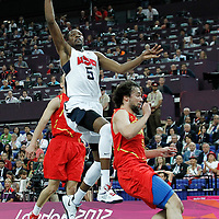 12 August 2012: USA Kevin Durant goes for the layup during 107-100 Team USA victory over Team Spain, during the men's Gold Medal Game, at the North Greenwich Arena, in London, Great Britain.