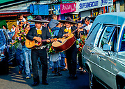 Mariachi Guitars Accompany A Funeral Procession