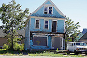 SHOT 8/29/10 1:31:57 PM - One of the estimated 10,000 vacant homes in the inner city of Buffalo, NY. Buffalo, N.Y. is the second most populous city in the state of New York and is located in Western New York on the eastern shores of Lake Erie and at the head of the Niagara River. By 1900, Buffalo was the 8th largest city in the country, and went on to become a major railroad hub, the largest grain-milling center in the country and the home of the largest steel-making operation in the world. The latter part of the 20th Century saw a reversal of fortunes: by the year 1990 the city had fallen back below its 1900 population levels. .(Photo by Marc Piscotty / © 2010)