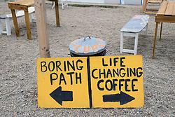 Cafe on the coastal path between Marazion and Penzance, Cornwall UK